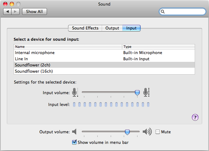 Sound input system preferences
